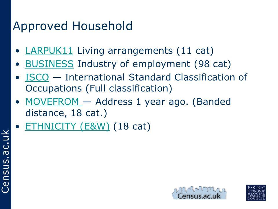 Census.ac.uk Approved Household LARPUK11 Living arrangements (11 cat)LARPUK11 BUSINESS Industry of employment (98 cat)BUSINESS ISCO International Stan