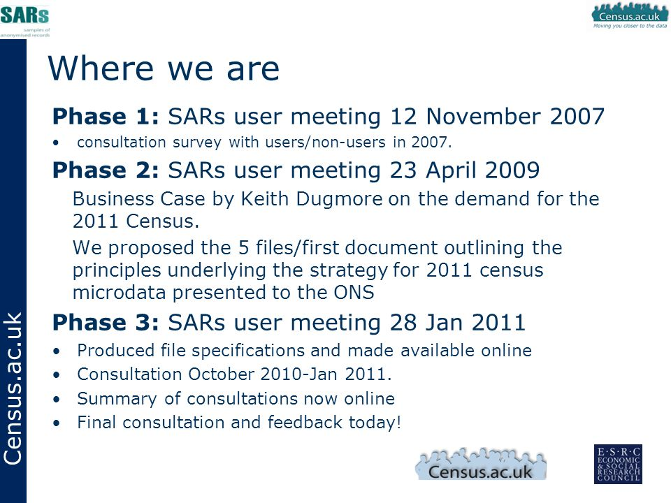 Census.ac.uk Where we are Phase 1: SARs user meeting 12 November 2007 consultation survey with users/non-users in 2007.