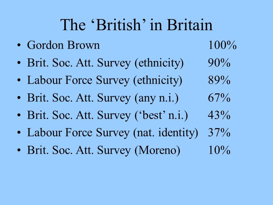 The British in Britain Gordon Brown100% Brit. Soc. Att. Survey (ethnicity)90% Labour Force Survey (ethnicity) 89% Brit. Soc. Att. Survey (any n.i.)67%