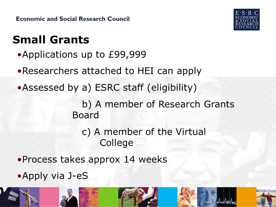 Small Grants Applications up to £99,999 Researchers attached to HEI can apply Assessed by a) ESRC staff (eligibility) b) A member of Research Grants Board c) A member of the Virtual College Process takes approx 14 weeks Apply via J-eS