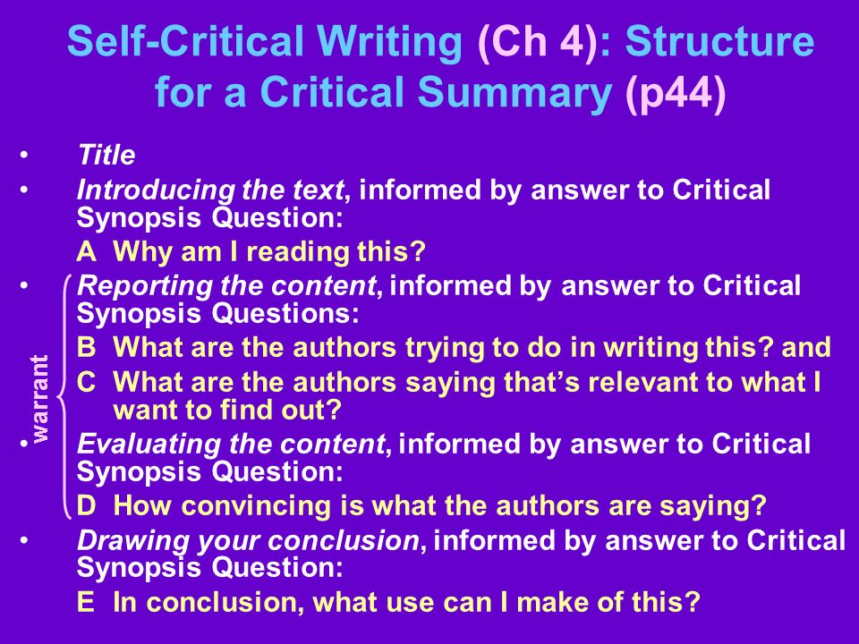 Self-Critical Writing (Ch 4): Structure for a Critical Summary (p44) Title Introducing the text, informed by answer to Critical Synopsis Question: A W