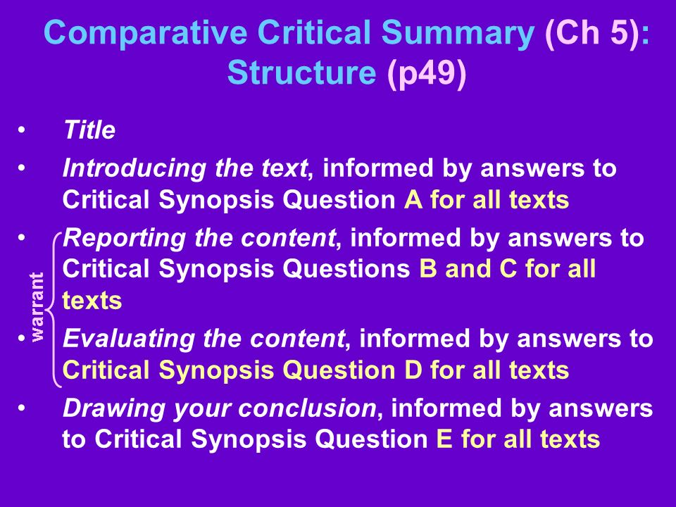 Comparative Critical Summary (Ch 5): Structure (p49) Title Introducing the text, informed by answers to Critical Synopsis Question A for all texts Rep