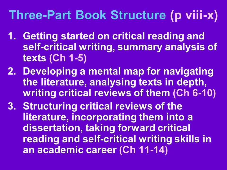Three-Part Book Structure (p viii-x) 1.Getting started on critical reading and self-critical writing, summary analysis of texts (Ch 1-5) 2.Developing