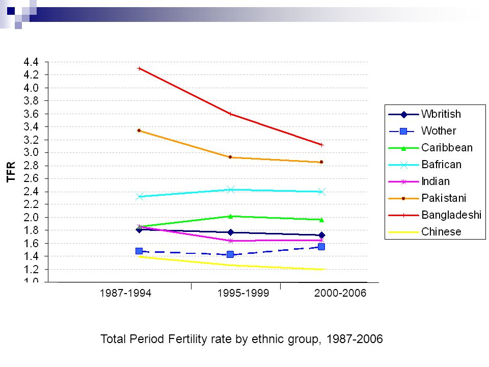 TFR Total Period Fertility rate by ethnic group, 1987-2006 2000-20061987-1994 1995-1999