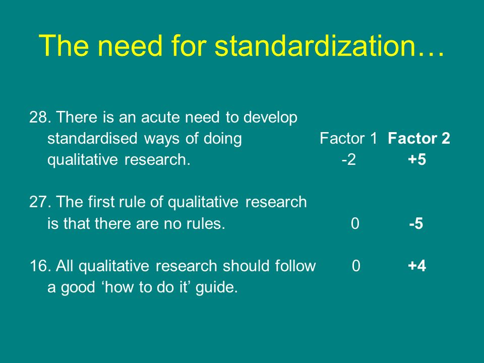 The need for standardization… 28. There is an acute need to develop standardised ways of doing Factor 1 Factor 2 qualitative research. -2 +5 27. The f