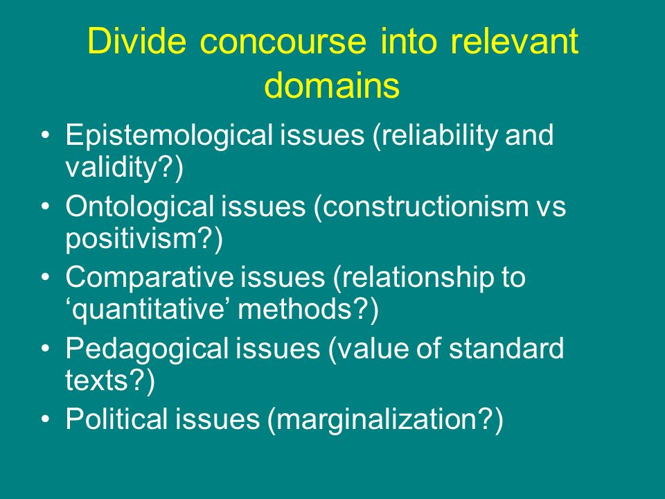Divide concourse into relevant domains Epistemological issues (reliability and validity?) Ontological issues (constructionism vs positivism?) Comparat