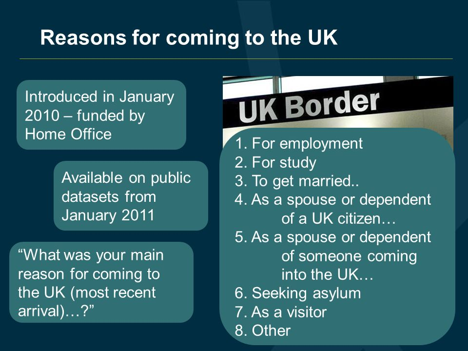 Reasons for coming to the UK Introduced in January 2010 – funded by Home Office Available on public datasets from January 2011 What was your main reason for coming to the UK (most recent arrival)….