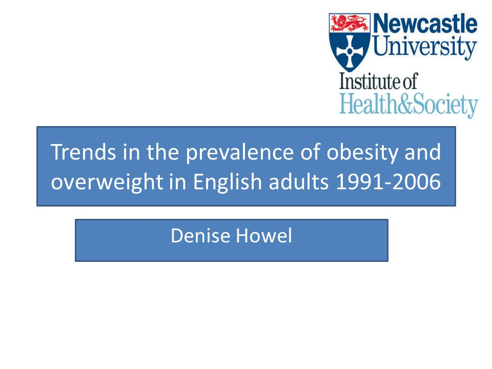 Trends in the prevalence of obesity and overweight in English adults 1991-2006 Denise Howel