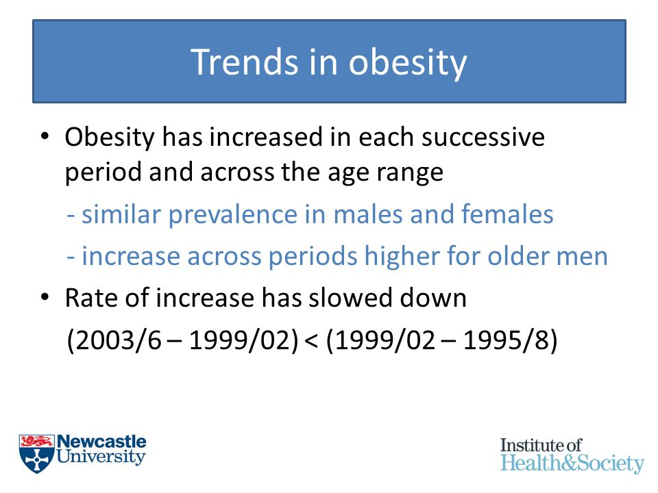 Trends in obesity Obesity has increased in each successive period and across the age range - similar prevalence in males and females - increase across periods higher for older men Rate of increase has slowed down (2003/6 – 1999/02) < (1999/02 – 1995/8)