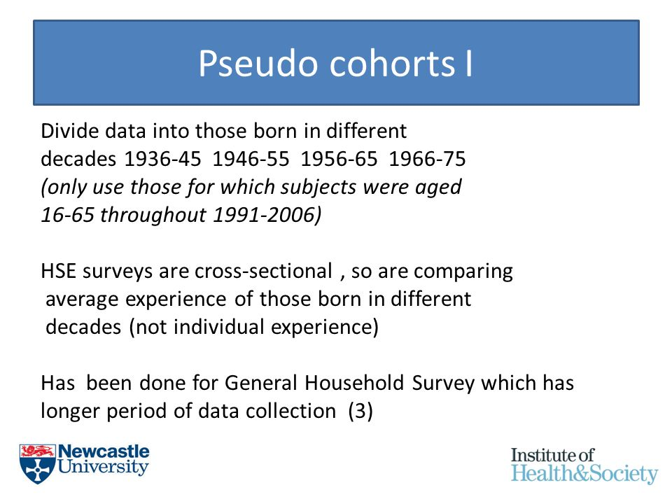Pseudo cohorts I Divide data into those born in different decades 1936-45 1946-55 1956-65 1966-75 (only use those for which subjects were aged 16-65 throughout 1991-2006) HSE surveys are cross-sectional, so are comparing average experience of those born in different decades (not individual experience) Has been done for General Household Survey which has longer period of data collection (3)