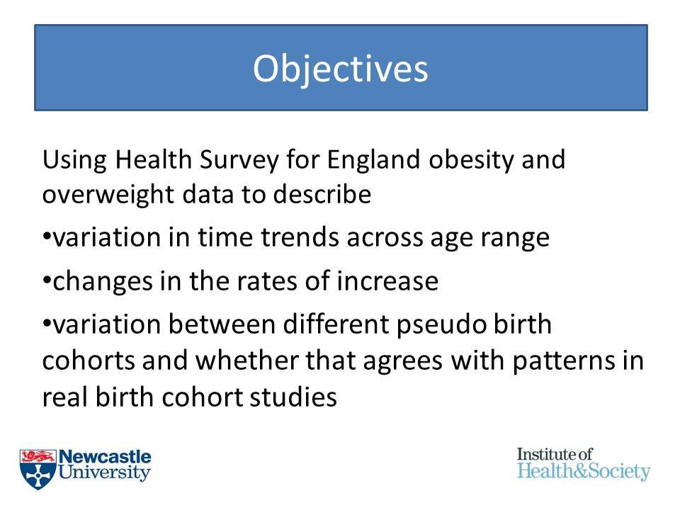 Objectives Using Health Survey for England obesity and overweight data to describe variation in time trends across age range changes in the rates of increase variation between different pseudo birth cohorts and whether that agrees with patterns in real birth cohort studies
