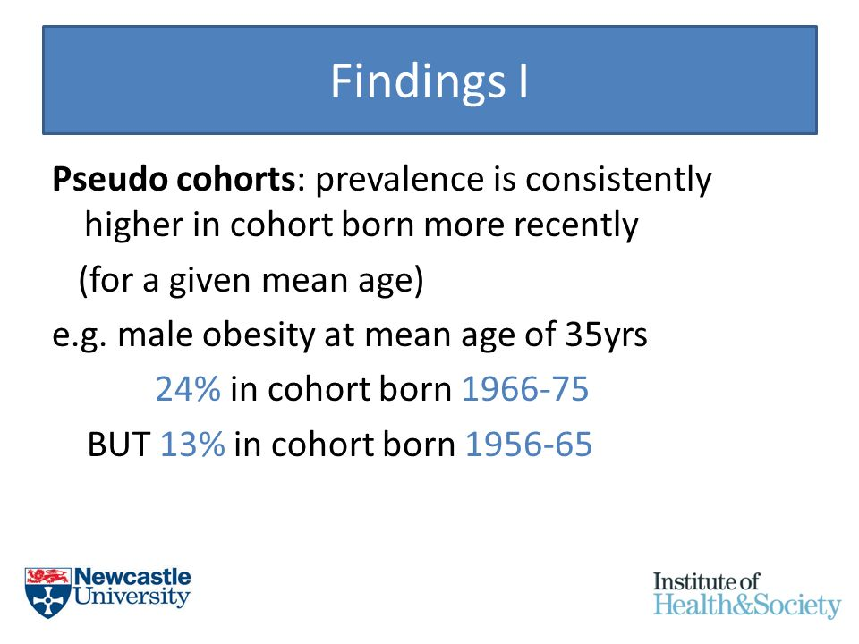 Findings I Pseudo cohorts: prevalence is consistently higher in cohort born more recently (for a given mean age) e.g.
