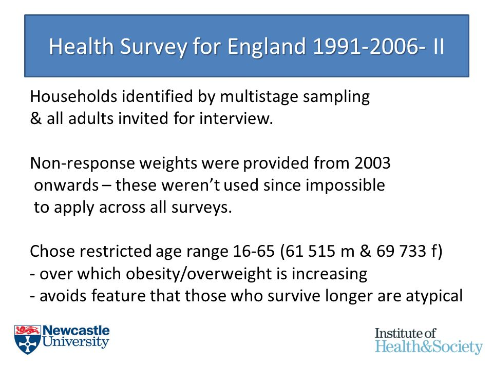 Health Survey for England 1991-2006- Health Survey for England 1991-2006- II Households identified by multistage sampling & all adults invited for interview.