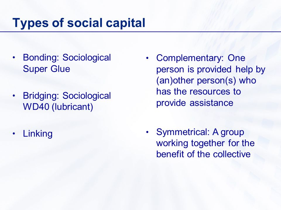 Types of social capital Bonding: Sociological Super Glue Bridging: Sociological WD40 (lubricant) Linking Complementary: One person is provided help by