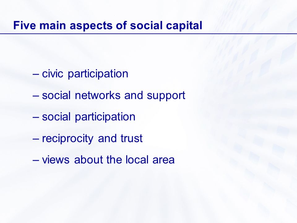 Five main aspects of social capital –civic participation –social networks and support –social participation –reciprocity and trust –views about the lo