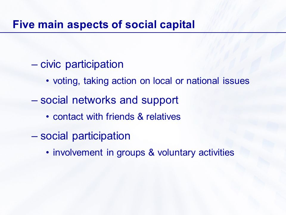 Five main aspects of social capital –civic participation voting, taking action on local or national issues –social networks and support contact with f
