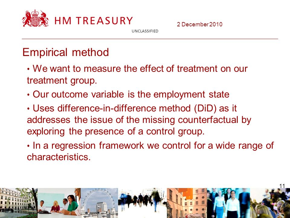 2 December 2010 UNCLASSIFIED 11 Empirical method We want to measure the effect of treatment on our treatment group.