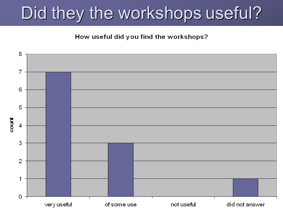 Did they the workshops useful