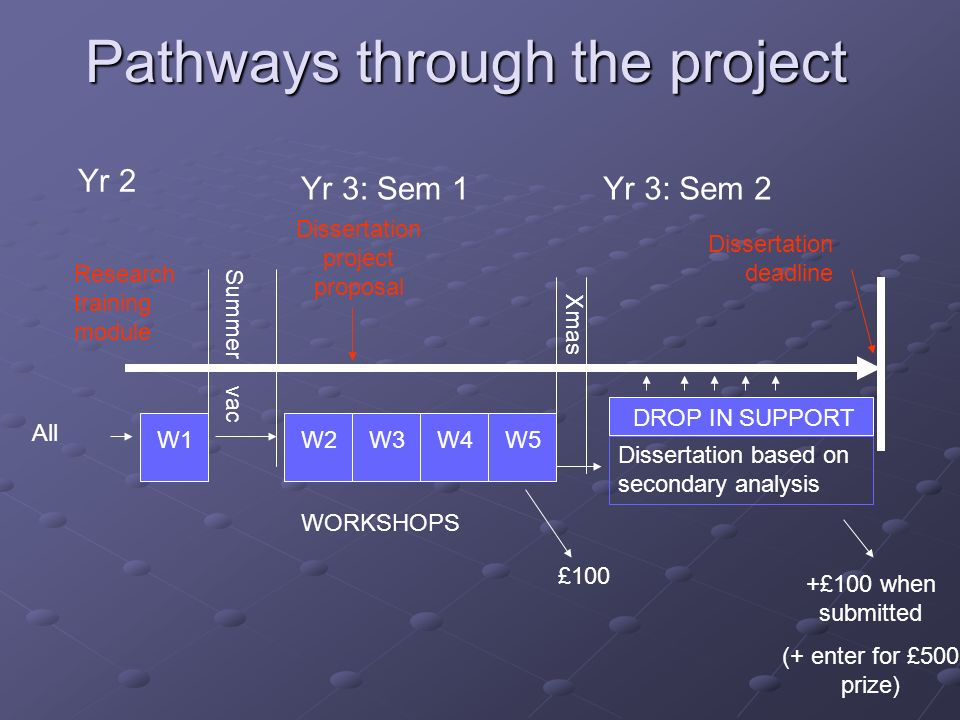 Pathways through the project Yr 2 Summer vac Xmas W1W2W3W4W5 WORKSHOPS All Dissertation based on secondary analysis £100 Yr 3: Sem 1Yr 3: Sem 2 Research training module Dissertation project proposal DROP IN SUPPORT +£100 when submitted (+ enter for £500 prize) Dissertation deadline