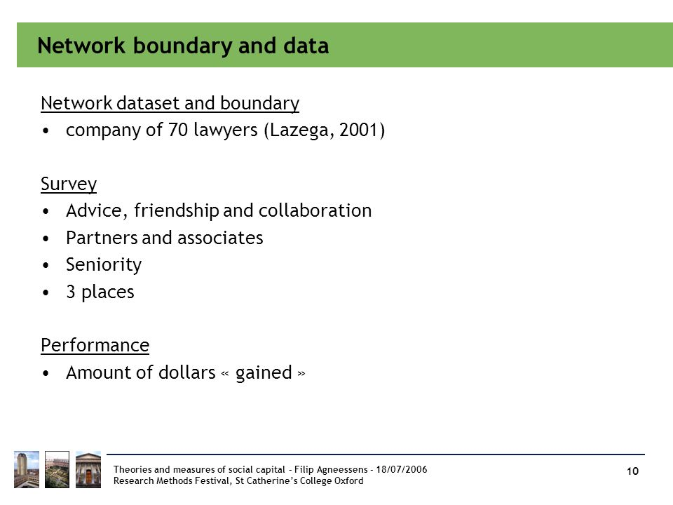 Network boundary and data Network dataset and boundary company of 70 lawyers (Lazega, 2001) Survey Advice, friendship and collaboration Partners and a
