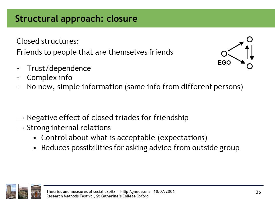 Structural approach: closure -Trust/dependence -Complex info -No new, simple information (same info from different persons) Theories and measures of s