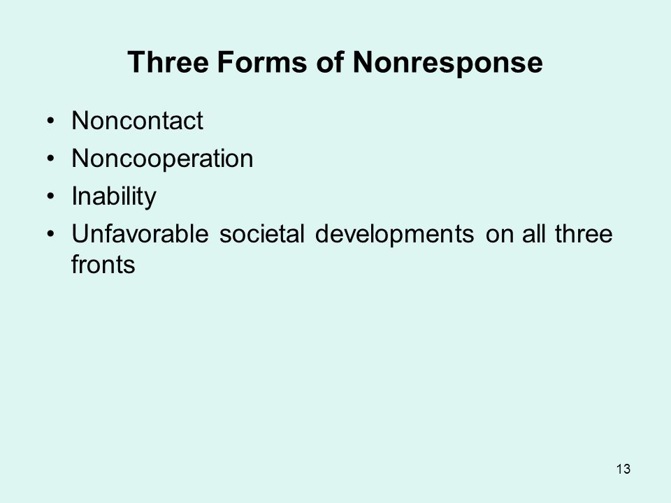 13 Three Forms of Nonresponse Noncontact Noncooperation Inability Unfavorable societal developments on all three fronts