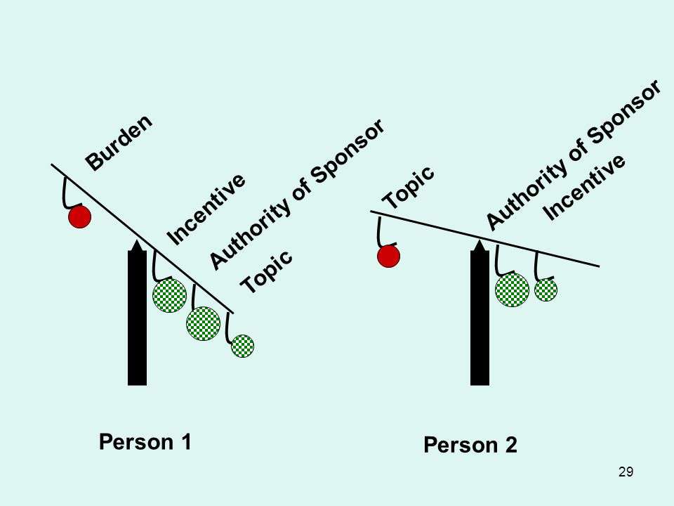 29 Burden Incentive Authority of Sponsor Topic Person 1 Person 2