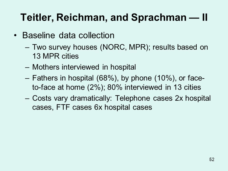 52 Teitler, Reichman, and Sprachman II Baseline data collection –Two survey houses (NORC, MPR); results based on 13 MPR cities –Mothers interviewed in
