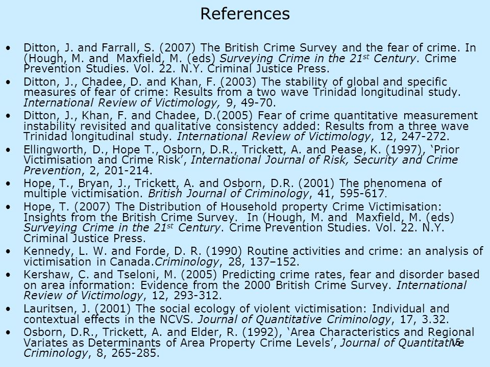 15 References Ditton, J. and Farrall, S. (2007) The British Crime Survey and the fear of crime.