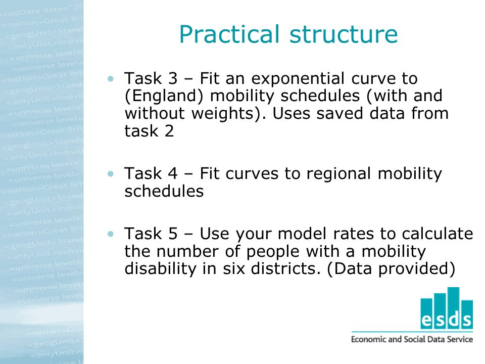 Practical structure Task 3 – Fit an exponential curve to (England) mobility schedules (with and without weights).