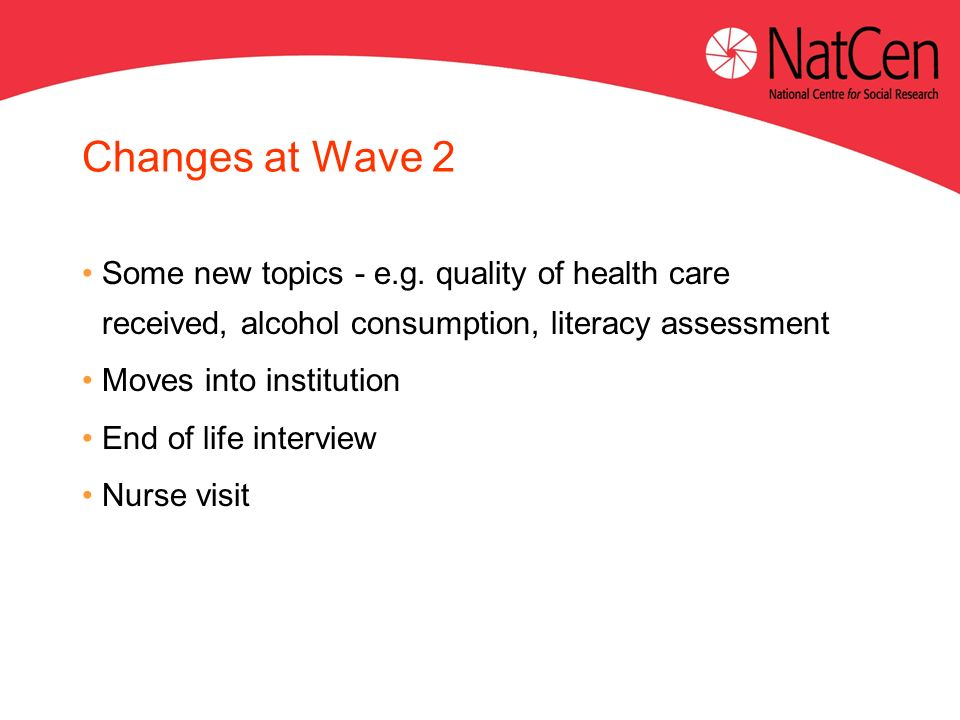Changes at Wave 2 Some new topics - e.g.