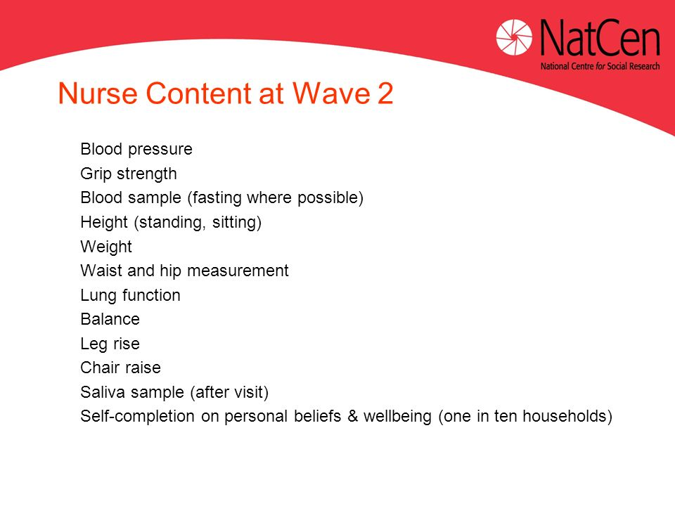 Nurse Content at Wave 2 Blood pressure Grip strength Blood sample (fasting where possible) Height (standing, sitting) Weight Waist and hip measurement Lung function Balance Leg rise Chair raise Saliva sample (after visit) Self-completion on personal beliefs & wellbeing (one in ten households)