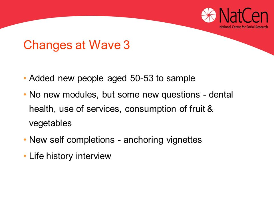 Changes at Wave 3 Added new people aged to sample No new modules, but some new questions - dental health, use of services, consumption of fruit & vegetables New self completions - anchoring vignettes Life history interview