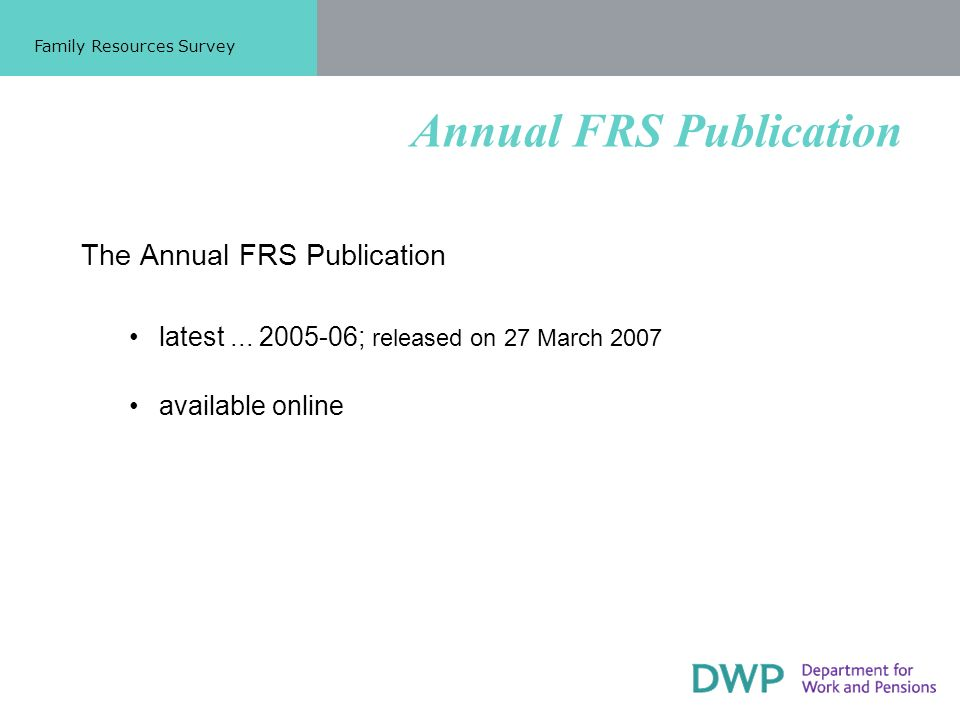 Annual FRS Publication The Annual FRS Publication latest...