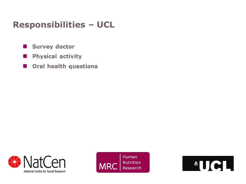 Responsibilities – UCL Survey doctor Physical activity Oral health questions