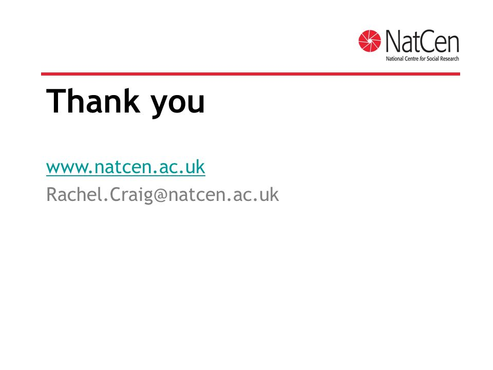 Thank you www.natcen.ac.uk Rachel.Craig@natcen.ac.uk
