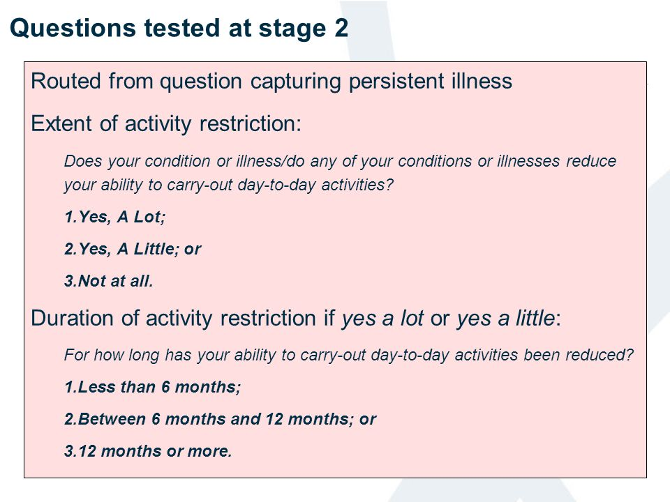 Questions tested at stage 2 Routed from question capturing persistent illness Extent of activity restriction: Does your condition or illness/do any of
