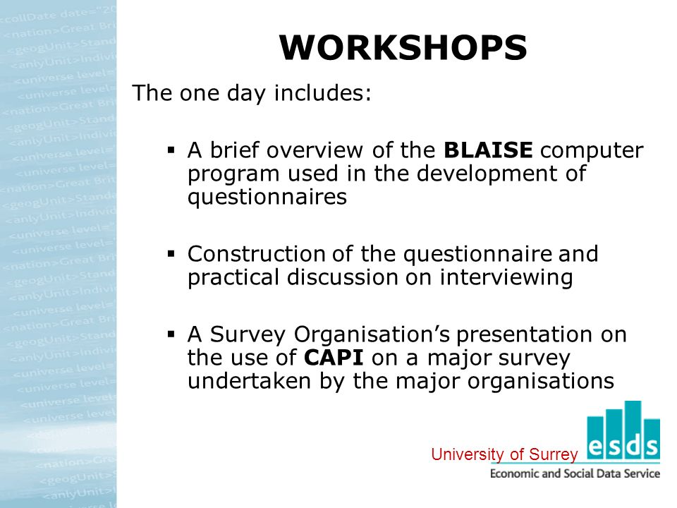 WORKSHOPS The one day includes: A brief overview of the BLAISE computer program used in the development of questionnaires Construction of the questionnaire and practical discussion on interviewing A Survey Organisations presentation on the use of CAPI on a major survey undertaken by the major organisations University of Surrey