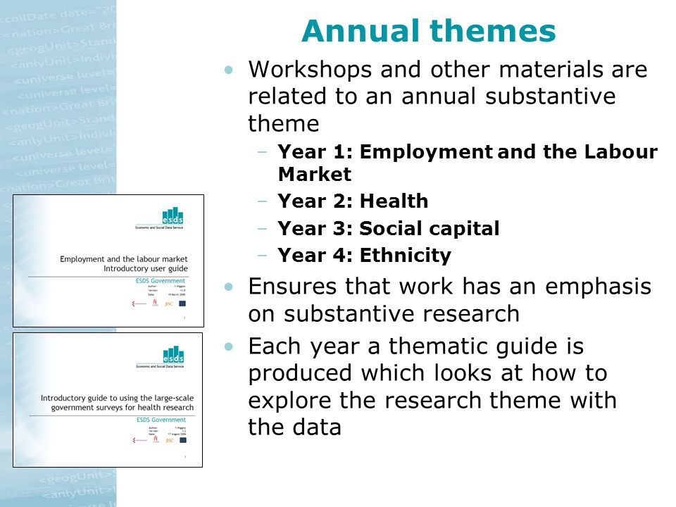 Annual themes Workshops and other materials are related to an annual substantive theme –Year 1: Employment and the Labour Market –Year 2: Health –Year