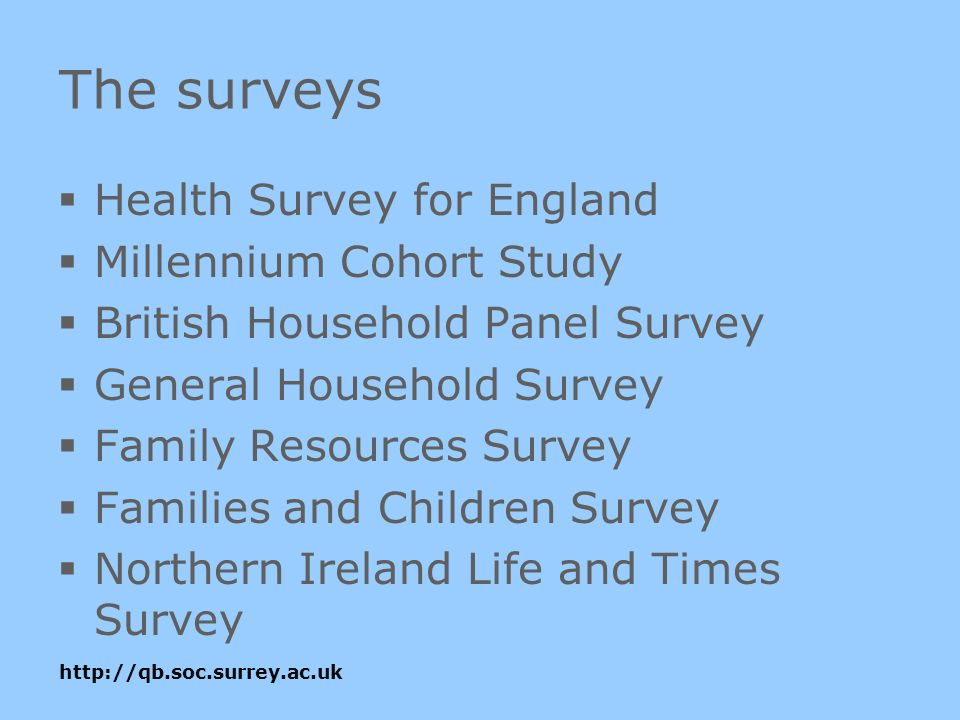 The surveys Health Survey for England Millennium Cohort Study British Household Panel Survey General Household Survey Family Resources Survey Families and Children Survey Northern Ireland Life and Times Survey