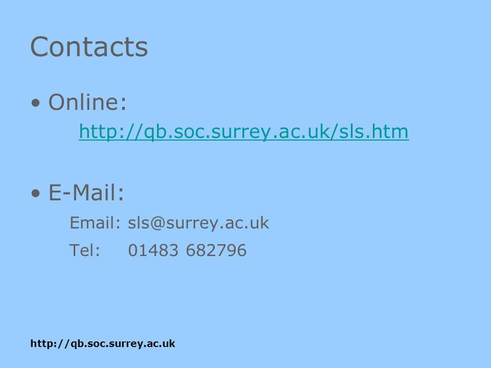 http://qb.soc.surrey.ac.uk Contacts Online: http://qb.soc.surrey.ac.uk/sls.htm E-Mail: Email:sls@surrey.ac.uk Tel: 01483 682796