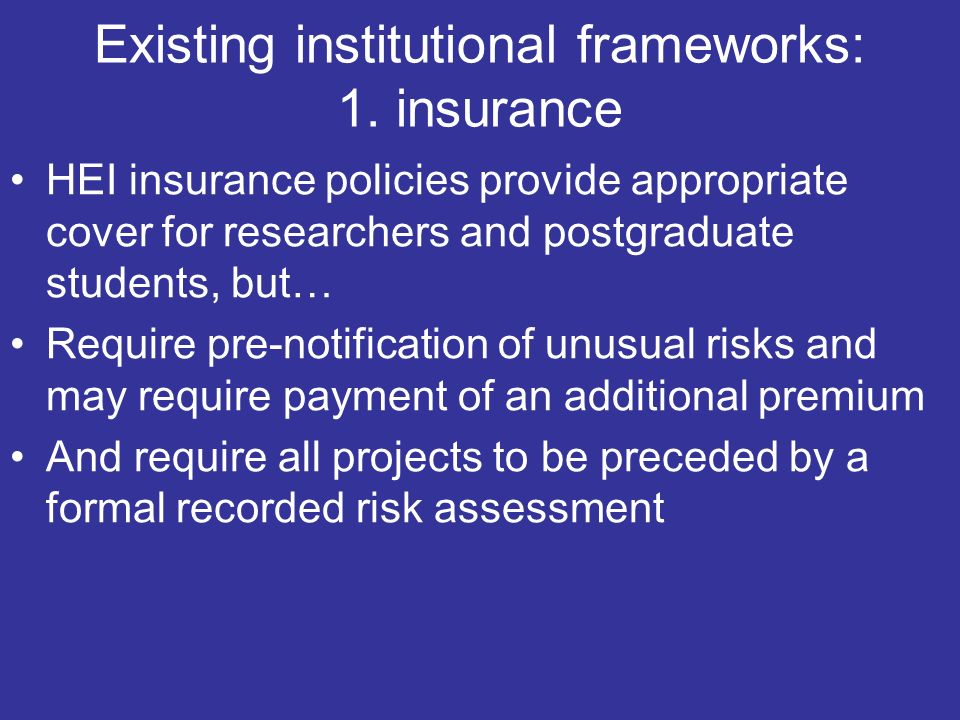 Existing institutional frameworks: 1.
