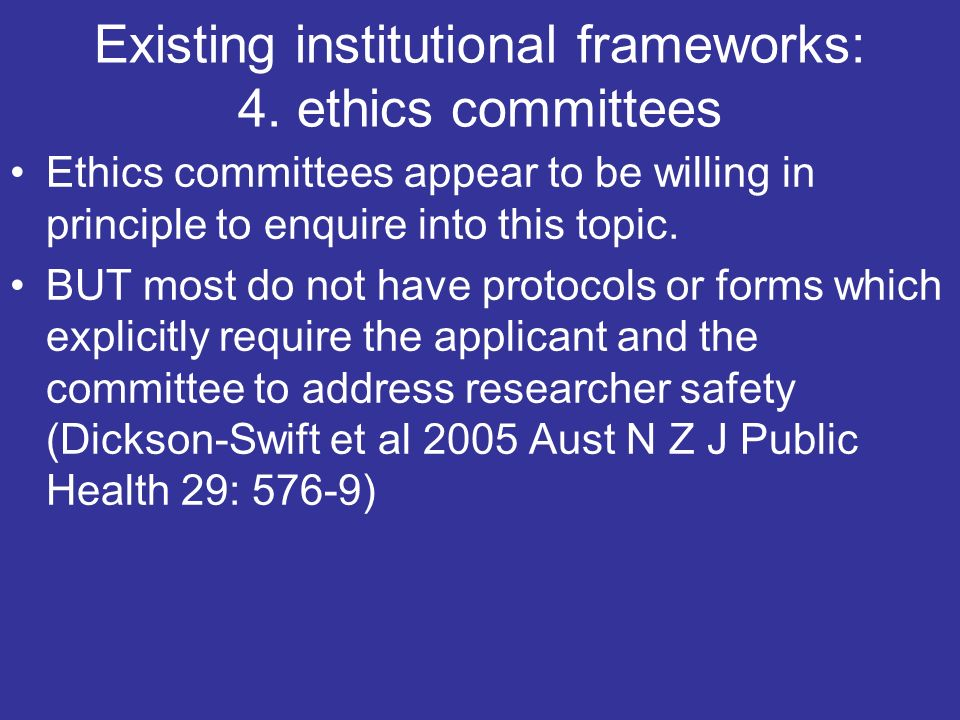 Existing institutional frameworks: 4.