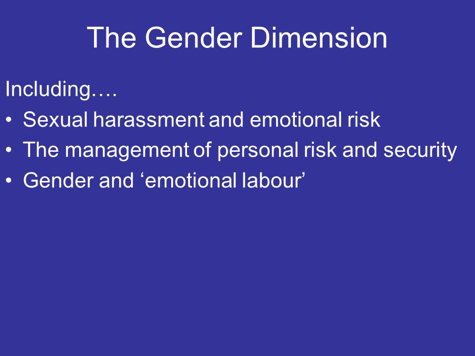 The Gender Dimension Including….