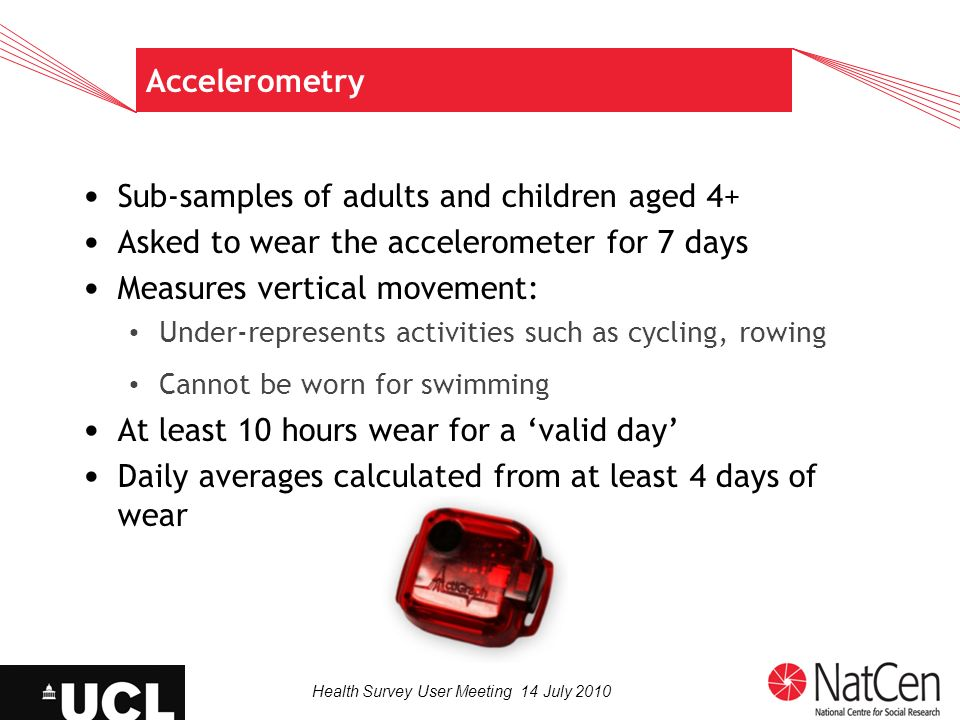 Health Survey User Meeting 14 July 2010 Accelerometry Sub-samples of adults and children aged 4+ Asked to wear the accelerometer for 7 days Measures v