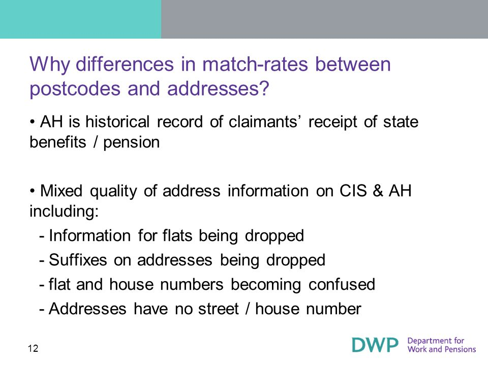 12 Why differences in match-rates between postcodes and addresses.