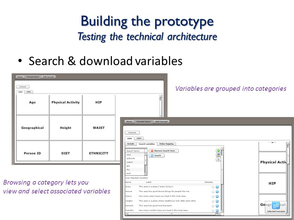 Building the prototype Testing the technical architecture Search & download variables Variables are grouped into categories Browsing a category lets you view and select associated variables