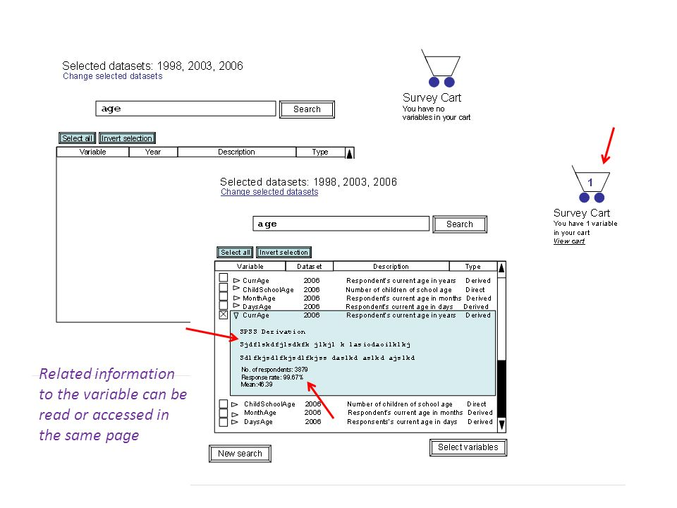 Related information to the variable can be read or accessed in the same page