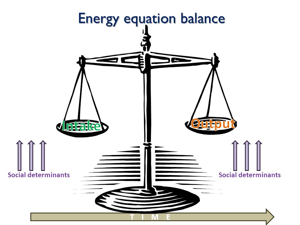 Energy equation balance Social determinants T I M E Social determinants