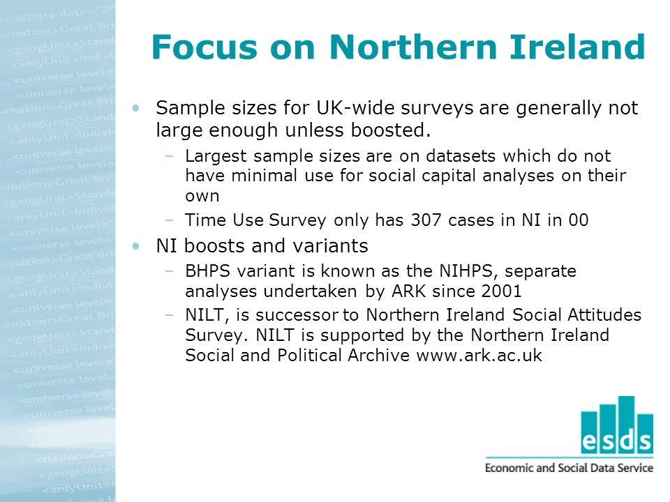Focus on Northern Ireland Sample sizes for UK-wide surveys are generally not large enough unless boosted.